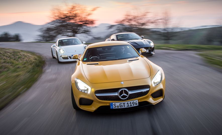 2016 Jaguar F-type R coupe, 2015 Porsche 911 Carrera GTS, and 2016 Mercedes-AMG GT S - Slide 4