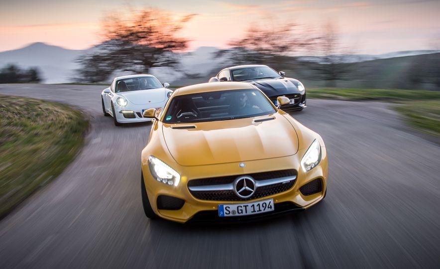 2016 Jaguar F-type R coupe, 2015 Porsche 911 Carrera GTS, and 2016 Mercedes-AMG GT S - Slide 4