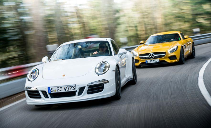 2016 Jaguar F-type R coupe, 2015 Porsche 911 Carrera GTS, and 2016 Mercedes-AMG GT S - Slide 5