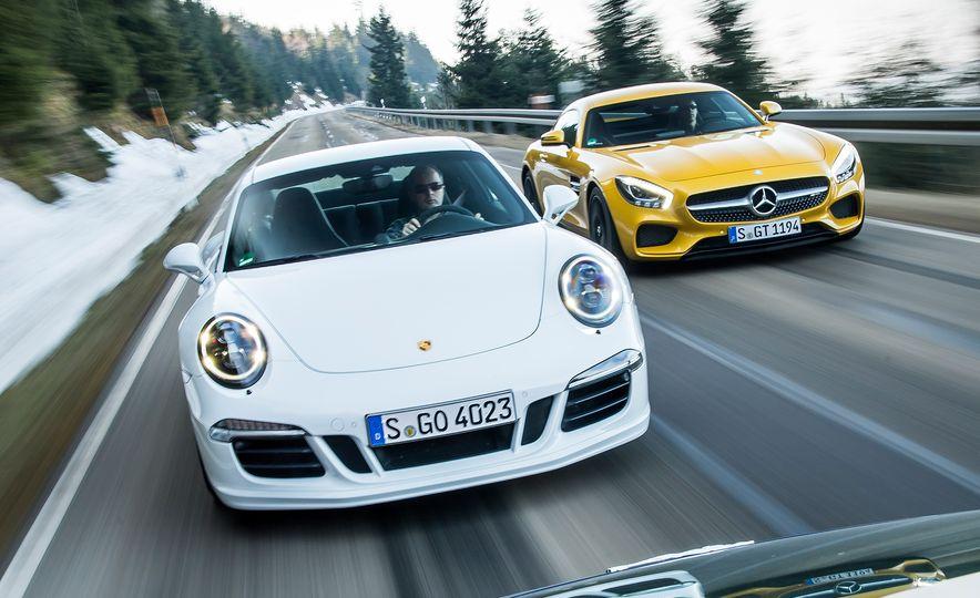2016 Jaguar F-type R coupe, 2015 Porsche 911 Carrera GTS, and 2016 Mercedes-AMG GT S - Slide 6