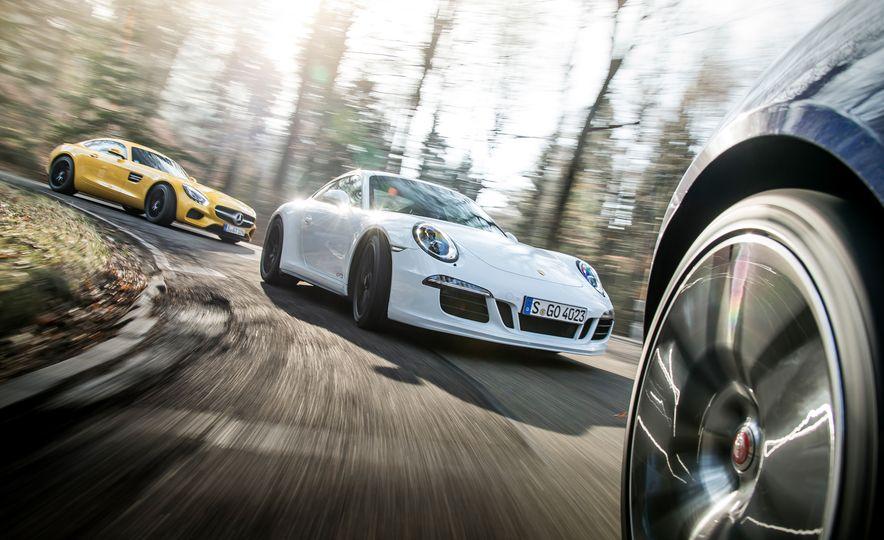 2016 Jaguar F-type R coupe, 2015 Porsche 911 Carrera GTS, and 2016 Mercedes-AMG GT S - Slide 7