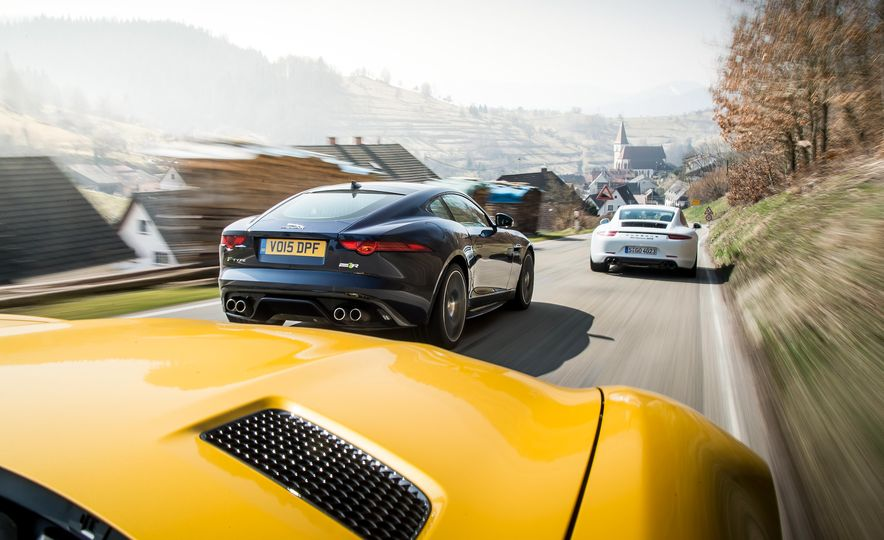 2016 Jaguar F-type R coupe, 2015 Porsche 911 Carrera GTS, and 2016 Mercedes-AMG GT S - Slide 8