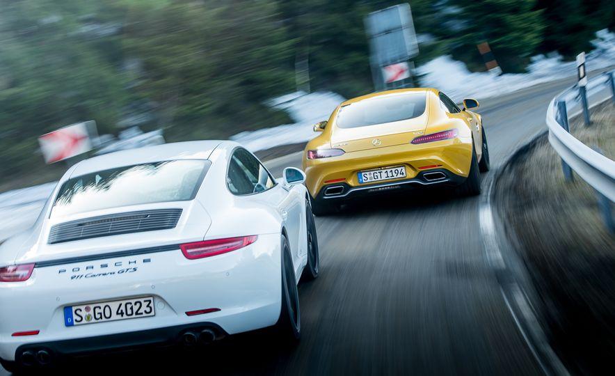 2016 Jaguar F-type R coupe, 2015 Porsche 911 Carrera GTS, and 2016 Mercedes-AMG GT S - Slide 9