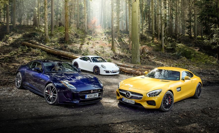2016 Jaguar F-type R coupe, 2015 Porsche 911 Carrera GTS, and 2016 Mercedes-AMG GT S - Slide 10