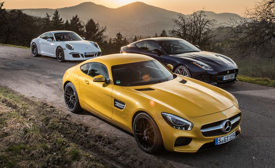 2016 Jaguar F-type R coupe, 2015 Porsche 911 Carrera GTS, and 2016 Mercedes-AMG GT S - Slide 11