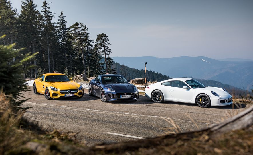 2016 Jaguar F-type R coupe, 2015 Porsche 911 Carrera GTS, and 2016 Mercedes-AMG GT S - Slide 12