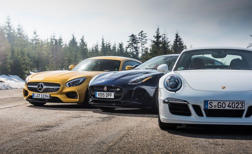 2016 Jaguar F-type R coupe, 2015 Porsche 911 Carrera GTS, and 2016 Mercedes-AMG GT S - Slide 13
