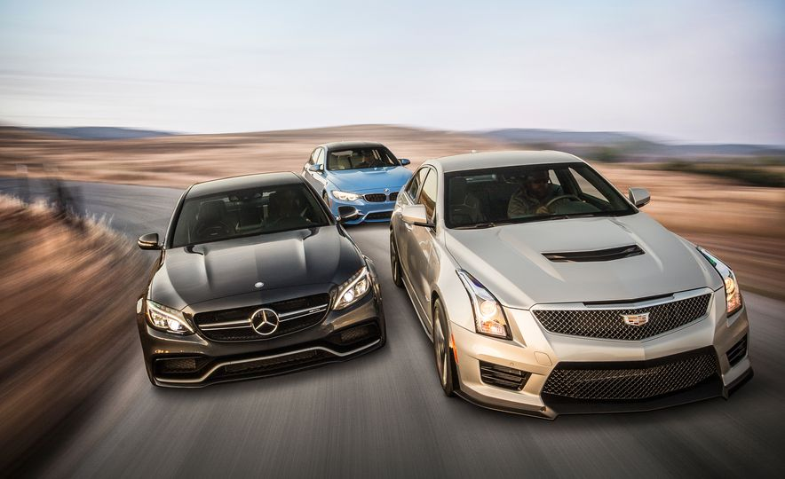 2015 Mercedes-AMG C63 S-Model, 2015 BMW M3, and 2016 Cadillac ATS-V - Slide 1