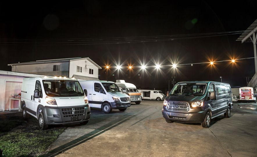 2014 Ram ProMaster 1500 EcoDiesel, 2015 Mercedes-Benz Sprinter 2500 BlueTec, and 2015 Ford Transit 150 Power Stroke - Slide 1