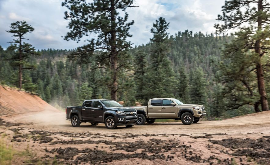 2015 Chevrolet Colorado LT 4WD and 2016 Toyota Tacoma TRD Off-Road 4x4 - Slide 1