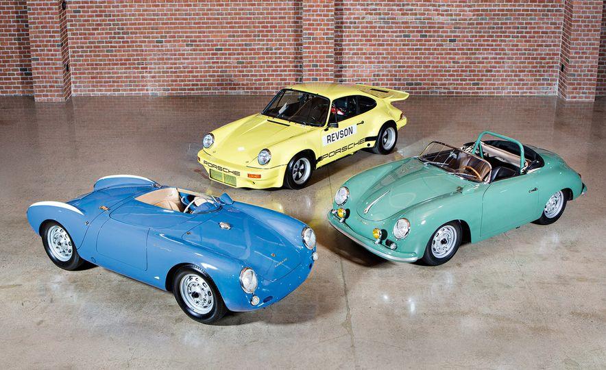 1955 Porsche 550 Spyder, 1974 Porsche 911 Carrera 3.0 IROC RSR, and 1958 Porsche 356 A 1500 GS/GT Carrera Speedster - Slide 1