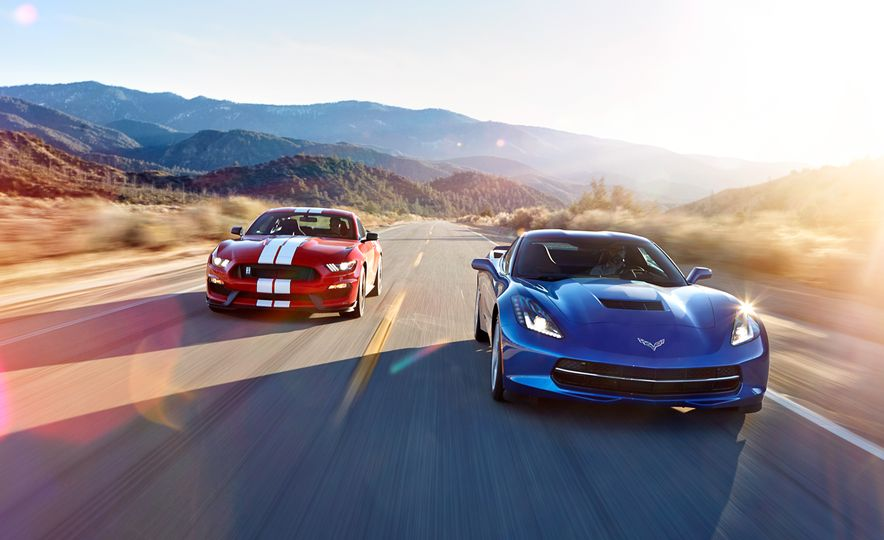 2016 Ford Mustang Shelby GT350 and 2016 Chevrolet Corvette Stingray coupe Z51 - Slide 1