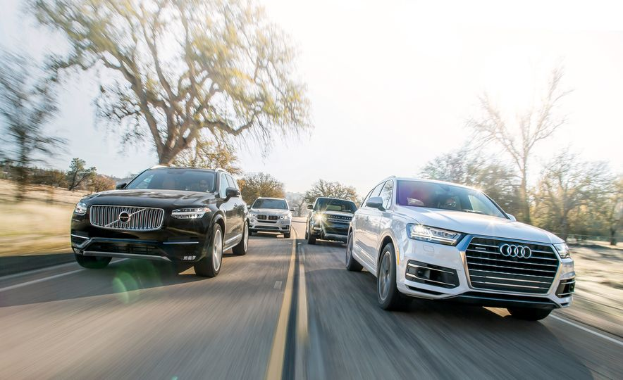 2016 Volvo XC90 T6 AWD Inscription, 2015 BMW X5 xDrive35i, 2015 Land Rover Range Rover Sport HSE, and 2017 Audi Q7 3.0T - Slide 1