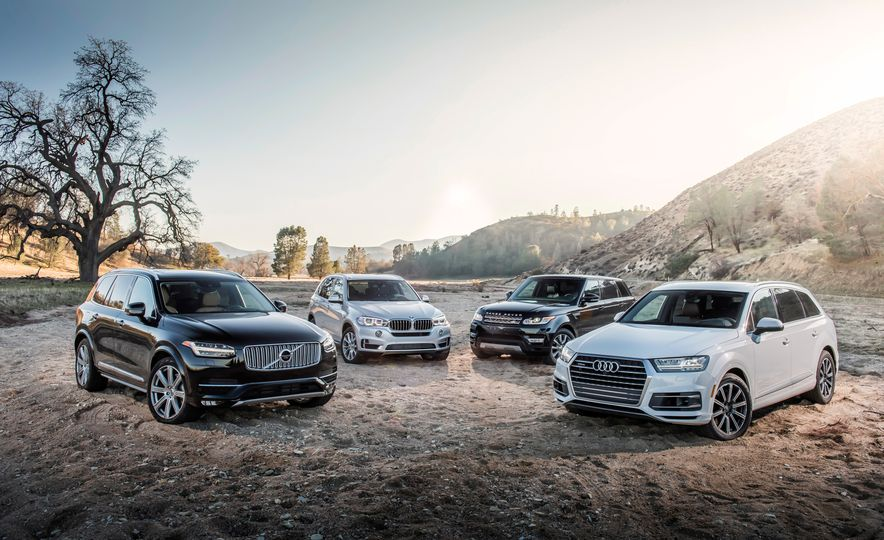 2016 Volvo XC90 T6 AWD Inscription, 2015 BMW X5 xDrive35i, 2015 Land Rover Range Rover Sport HSE, and 2017 Audi Q7 3.0T - Slide 5