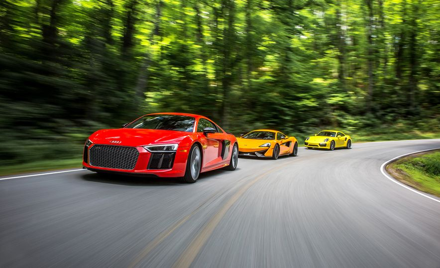 2017 Audi R8 V-10 Plus, 2016 McLaren 570S, and 2017 Porsche 911 Turbo S - Slide 1