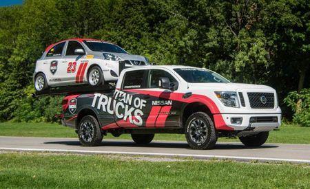 Bang a Gong, Camion! Nissan's Micra-Carrying Titan XD Race Hauler