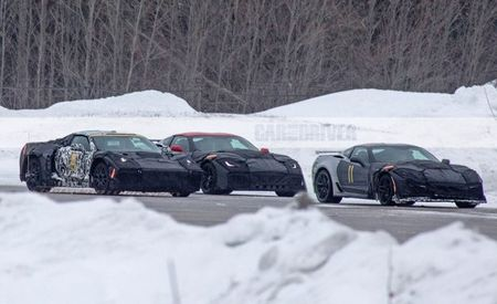 ZR1 and Mid-Engine C8 Corvettes Spied Together in Cold-Weather Tests