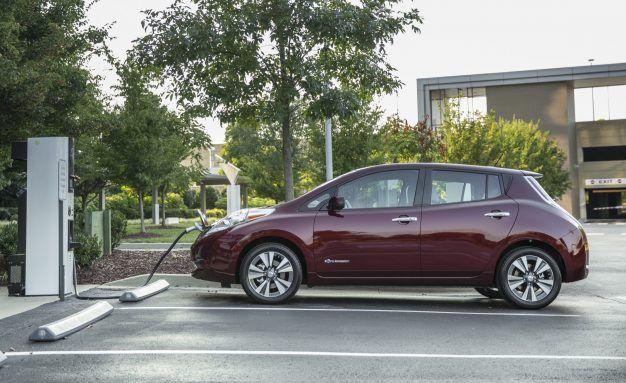 Nissan Leaf At Charger