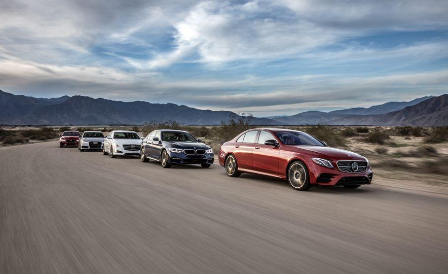 Executive Sedans: Audi A6 vs. BMW 540i, Cadillac CTS V-Sport, Jag XF S, Mercedes E43 - Slide 1