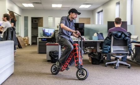 Rug Burn: We Test the URB-E Electric Scooter—Inside Our Office