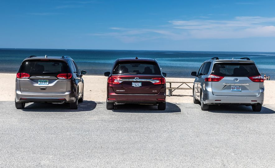 2017 Chrysler Pacifica Limited, 2017 Toyota Sienna Limited Premium, and 2018 Honda Odyssey Elite - Slide 2