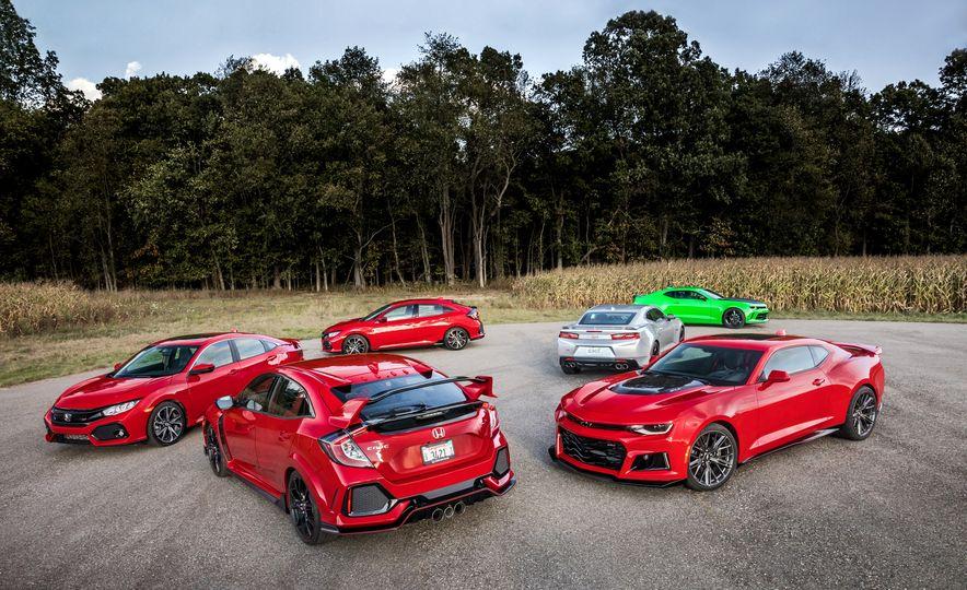 2018 Honda Civic Si sedan, Civic Type R, Civic Sport, 2018 Chevrolet Camaro SS, Camaro ZL1, and Camaro - Slide 1