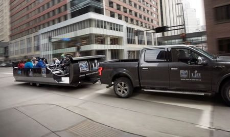 Instead of Running a Super Bowl Ad, Ford Is Pulling People around Minneapolis in a Sleigh that Looks Like a Dumpster