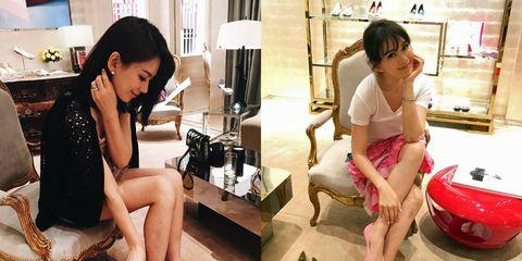 Leg, Human body, Sitting, Fashion accessory, Black hair, Beauty, Fashion, Foot, Bag, Thigh,