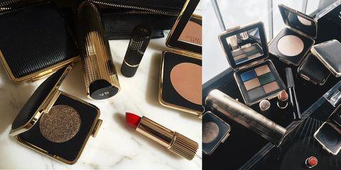 Brown, Cosmetics, Eye shadow, Brush, Metal, Silver, Still life photography, Paint brush, Lipstick, Makeup brushes,