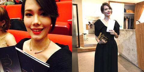 Fashion accessory, Style, Formal wear, Dress, Jewellery, Fashion, Black hair, One-piece garment, Little black dress, Necklace,