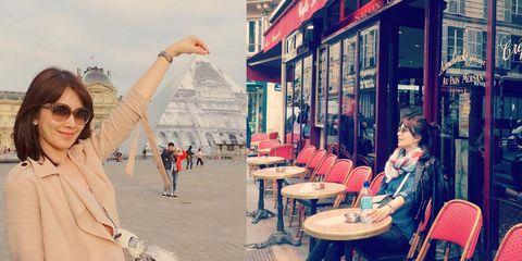 Eyewear, Human body, Table, Furniture, Sunglasses, Chair, Travel, Street fashion, Bag, Restaurant,