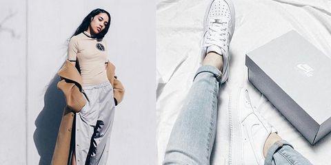 White, Footwear, Leg, Shoe, Fashion, Jeans, Outerwear, Street fashion, Plimsoll shoe, Human leg,