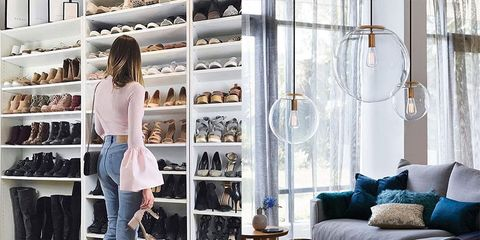 Room, Blue, Furniture, Closet, Footwear, Interior design, Shelf, Fashion, Shelving, Living room,