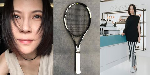 Racket, Tennis, Face, Tennis racket, Racquet sport, Skin, Head, Rackets, Cheek, Forehead,