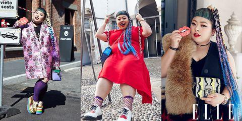 Street fashion, Fashion, Fur, Pink, Snapshot, Hairstyle, Footwear, Fun, Lip, Photography,