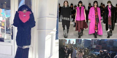 Textile, Outerwear, Style, Street fashion, Magenta, Purple, Fashion, Winter, Working animal, Collage,