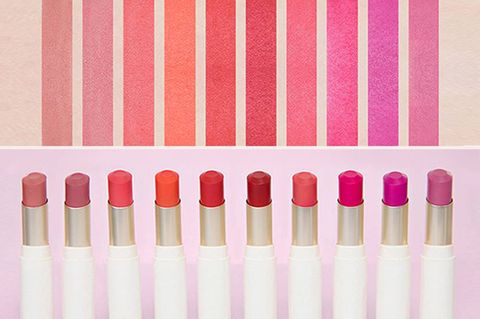 Pink, Cosmetics, Lipstick, Lip gloss, Material property, Tints and shades, Peach, Magenta,