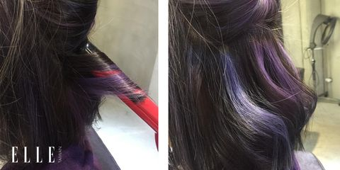 Hairstyle, Purple, Violet, Style, Lavender, Magenta, Hair accessory, Liver, Hair coloring, Long hair,