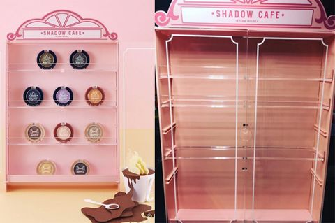 Pink, Peach, Shelf, Tan, Shelving, Display case, Collection, Plastic,