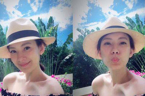 Hat, Clothing, Skin, Beauty, Sun hat, Fashion accessory, Headgear, Selfie, Fun, Summer,