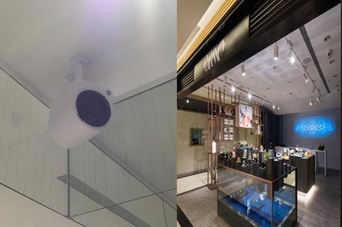 Interior design, Wall, Ceiling, Floor, Interior design, Light fixture, Couch, Design, Hall, Fluorescent lamp,
