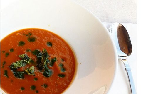 Food, Dishware, Tableware, Serveware, Cutlery, Soup, Condiment, Kitchen utensil, Tomato soup, Ingredient,
