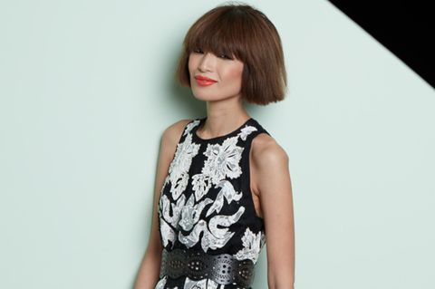 Hairstyle, Sleeve, Shoulder, Joint, Bangs, Dress, Style, Day dress, One-piece garment, Fashion,