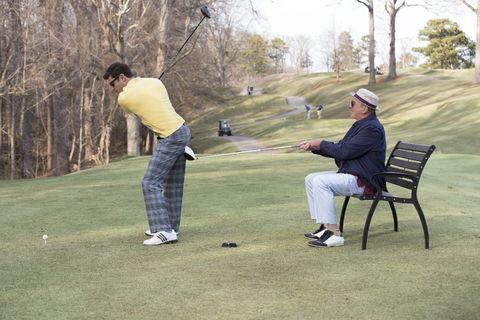 Recreation, Sport venue, Shoe, Leisure, Mammal, Golf course, Outdoor recreation, Ball game, Golf club, Golfer,