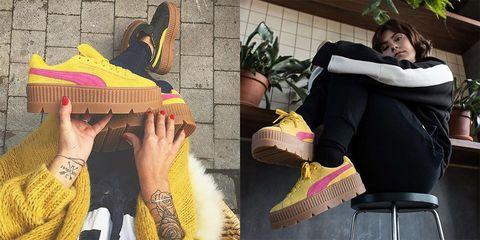 Footwear, Yellow, Shoe, Leg, Pink, Fashion, Hand, Textile, Boot, Human leg,