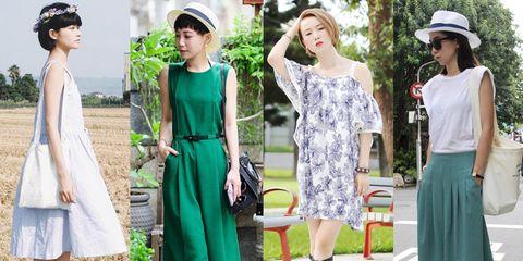 Clothing, Footwear, Hat, Green, Outerwear, Fashion accessory, Dress, Style, Summer, Street fashion,