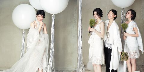 Clothing, Dress, Trousers, Photograph, White, Balloon, Formal wear, Style, Bridal clothing, Party supply,