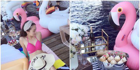 Pink, Thigh, Sweetness, Dessert, Swimwear, Undergarment, Cuisine, Lingerie, Swimsuit top, Brassiere,