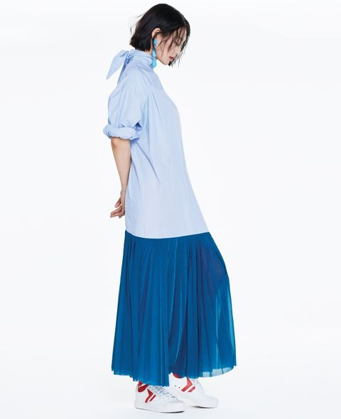 Clothing, Blue, Turquoise, Shoulder, Sleeve, Joint, Neck, Waist, Dress, Electric blue,