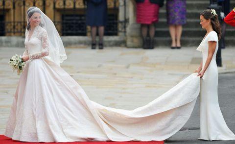 Gown, Dress, Wedding dress, Clothing, Bridal clothing, Bride, Pink, Fashion, Shoulder, A-line,